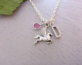 Pegasus Charm Necklace, Personalised Necklace, Pegasus Charm, Pegasus Necklace, Swarovski Crystal Birthstone, Initial Necklace