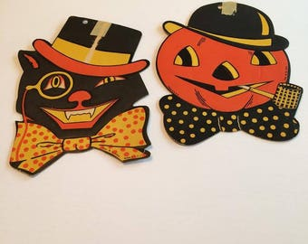 Vintage 1950s Halloween Black Orange Yellow H E LUHRS  Cut Out Decorations Scarecrow Black Cat  Free ship USA Canada