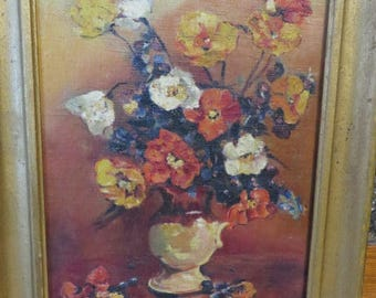Oil on Canvas Painting Poppy Flowers Vase Golds Whites Blues & Oranges // Antique Gold Frame  Wired for Hanging // Authentic Oil Painting