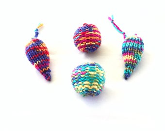 Knit Cat Toy Set, Knitted Mouse & Ball, Pick a Color, Knitted Balls, Knitted Mice, Kitten Play, Cat Toys