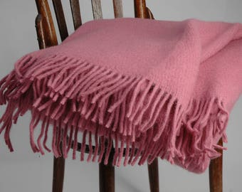 Pure Wool blanket with fringes Pink Lambswool blanket Pure wool throws Wool throw 55''X81''/140X205cm Perfect gift