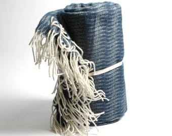 Pure Merino Wool blanket with fringes Striped White Blue Wool blanket Pure wool throws Merino Wool throw 51''X81''130X205cm Perfect gift
