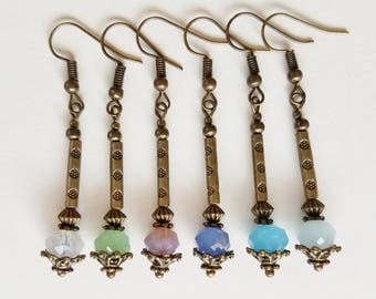 LANTERN bohemian vintage look antique brass/crystal earrings bridesmaid festival drop dangle 6 colors romantic earrings SusanRodebushArts