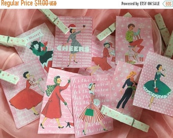 ON SALE Set of 9 Pink Christmas Gift Bag Tags Label & 9 Decorated Clothespins Clips Shabby Chic Mid-Century Kitschy Whimsical Retro Women La