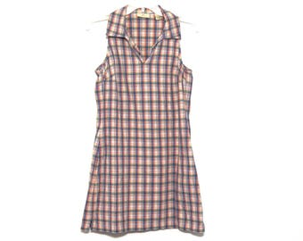 Vintage 90s dress plaid Limited America sleeveless collared Friends