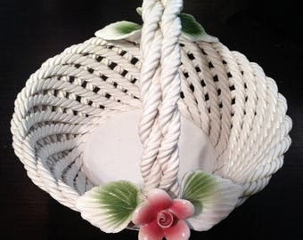 ON SALE - VINTAGE Lanzarin Ceramiche White Woven Fruit/Candy Basket Hand Made In Italy