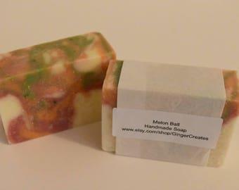 Melon Ball Scented Handmade Cold Process Natural Vegan Soap Bar