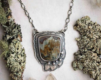 The Breath of Trees Necklace - Prudent Man Agate Leaf Pendant - Silversmith Forest Jewelry - Artisan Metalwork - Rustic Woodland Jewelry