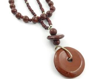 Vintage Red Jasper Bead Necklace, Wood Beads, STV97