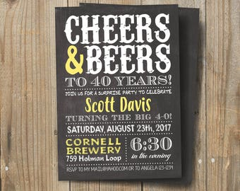 Cheers and Beers Birthday Invite, Beers and Cheers, Man Birthday, Beer BYOB Party Brewery Surprise 21st 30th 40th
