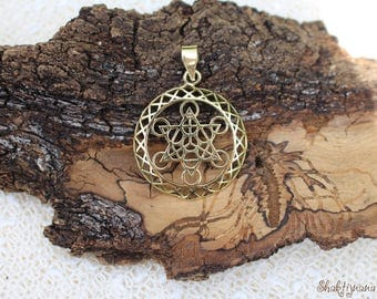 Metatron Cube Pendant, 3D Brass Pendant, Spiritual Jewellery, Tribal Brass Pendant, Sacred Geometry, Pendentif Laiton Géométrie Sacrée