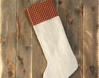 Ristic linen stocking-Country Christmas Decorations-Rustic Stockings