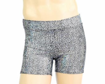 """Men's Mid Rise """"Rio"""" Shorts in Silver on Black Shattered Glass Shiny Holographic Spandex Dude Bro Man Sexy Shorts - 154693"""