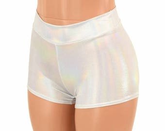Midrise Flashbulb Holographic Metallic Spandex Mid Rise Booty Shorts   151988