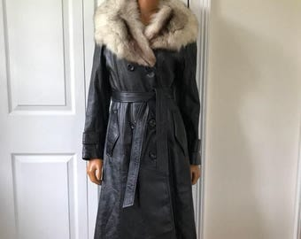 SALE 1970s Leather and Fur Coat Jacket Pea Coat Double Breasted Black Supple Leather