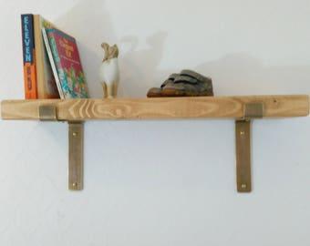 brass brackets wall shelf 1 shelf 17 cm deep kitchen shelving rustic shelf