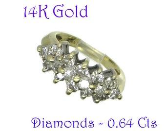 Diamonds - Vintage 14K Gold Diamond Ring, Multistone Diamond Ring, Dinner Ring, Wedding Ring, Anniversary Ring, Size 4, FREE SHIPPING