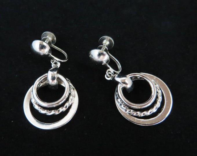 Coro Hoop Earrings, Vintage Dangling Silver Tone Triple Hoop Screwback Earrings Signed Coro Jewelry