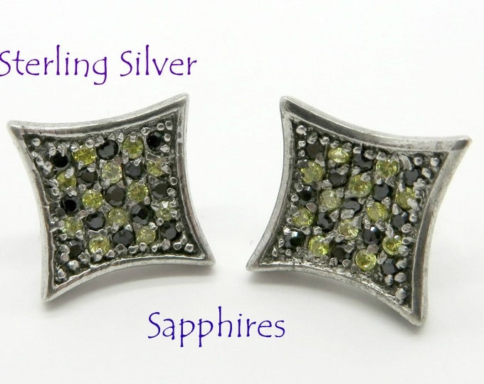 Sapphire Pierced Studs, Vintage Sterling Silver, Checkerboard Pierced Earrings, FREE SHIPPING