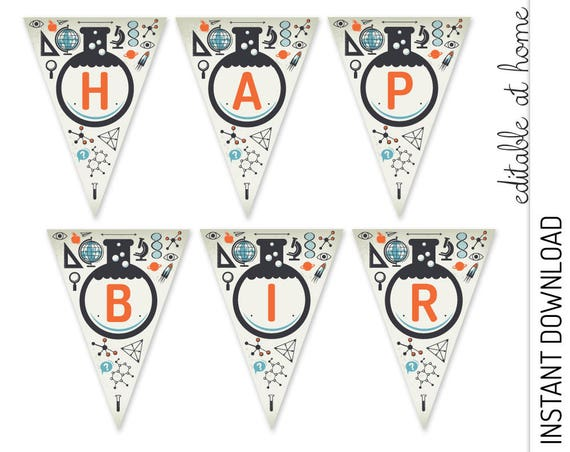 Science Bunting Flags INSTANT DOWNLOAD