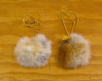 2 Red Fox Fur & Gold Color Deer Leather Bags