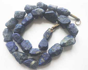 Natural Rough Stunning Lapiz Lazuli Nuggets  Beads Strand Afghanistan 7-12mm LP1019
