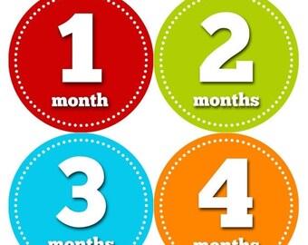 Baby Month Stickers, Baby Boy Gift, Milestone Stickers, Monthly Sticker, Monthly Baby Boy Stickers, Baby Month Milestone Stickers 053
