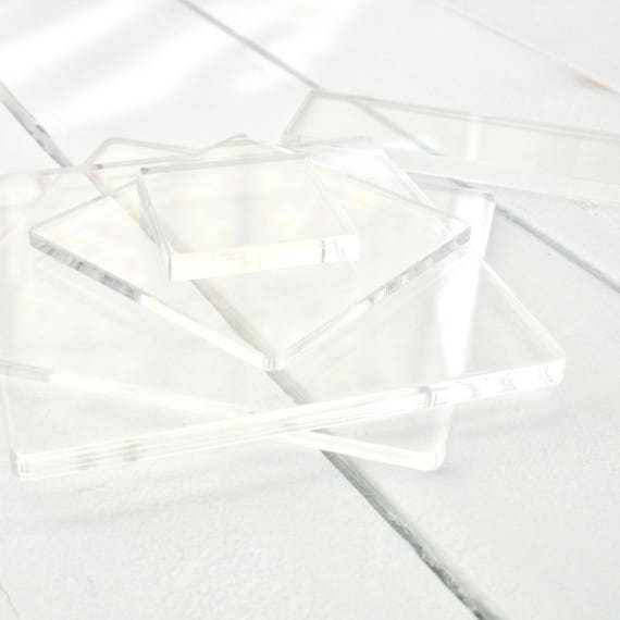 Clear Acrylic Stamp Block - Square Rectangle Accessory - Acrylic Mounts - Stamp Mounts - Stamping Blocks - LITTLE STAMP STORE