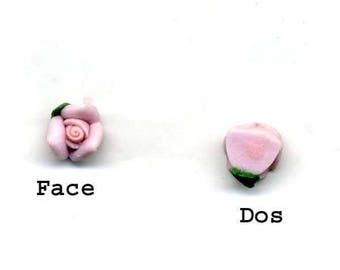 4 flower diameter 5 mm - pale pink ceramic
