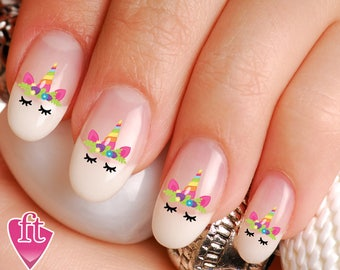 Unicorn nail art etsy unicorn face flowered crown horn nail decal stickers uni103 prinsesfo Images