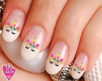 Unicorn nail polish etsy unicorn face flowered crown horn nail decal stickers uni103 prinsesfo Image collections