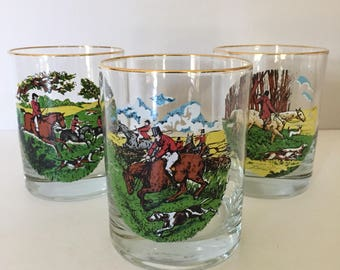 Equestrian Set of Rocks Glasses Fox Hunt Scenes Double Old Fashions Great Graphics Tally Ho!