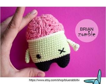 BRIAN the zombie. Crochet amigurumi toy.