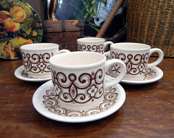 4 Retro Biltons Stoneware Tea Cups & Saucers