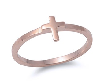 Women Sterling Silver Rose Gold Plated Sideway Cross Ring / Free Gift Box(SNRP142005-RG)