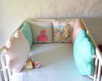AVAILABLE now - round bed baby pink Flamingo feather 'FlaminGo TropiCo' Collection - Mint, pink, mustard, touch