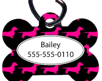 Pet Tag, Dog Tag, One Sided, Two Sided, Personalized Pet ID Tag, Bone Shaped, Aluminum, Magenta Short Haired Dachshund Design, Doxie