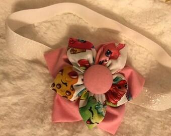 Fabric flower headband: shopkins