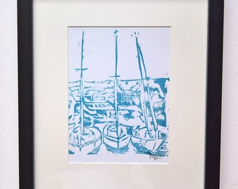 Mevagissey (Blue) A5 Linocut Print