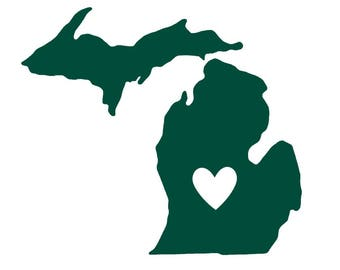 Michigan - State Outline & Heart - Lantern Press Artwork (Art Print - Multiple Sizes Available)
