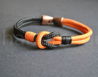 Sailor knot Nautical bracelet | mens bracelet | black orange paracord bracelet | sailor bracelet | nautische armband | pulsera hombre