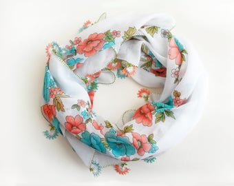 White floral scarf - Boho scarf Christmas gift idea Gift for women Turkish scarf Turkish oya scarf Square scarf Cotton scarf Blue scarf