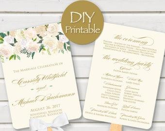 Wedding Program Fan printable gold ivory digital DIY blush vintage floral template customized download PDF rose elegant