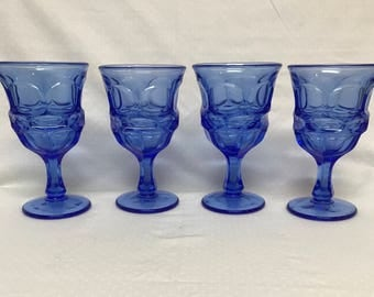 Set Of Four Water Goblets By Fostoria In The Argus Pattern Vintage