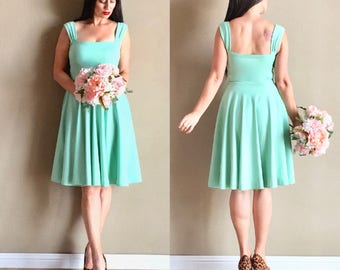 Mint Julep CHERRYBOMB Bridesmaid Dress with Straight Cut Neckline and Multiway Capped Sleeves, Vintage Inspired Wedding Party Dress