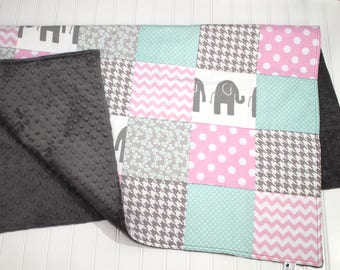 Elephant Baby Quilt - Modern Minky Quilt, Baby Girl Quilt, Gray, Mint, Baby Pink, Patchwork Baby Quilt - Baby Blanket - Minky Baby Blanket
