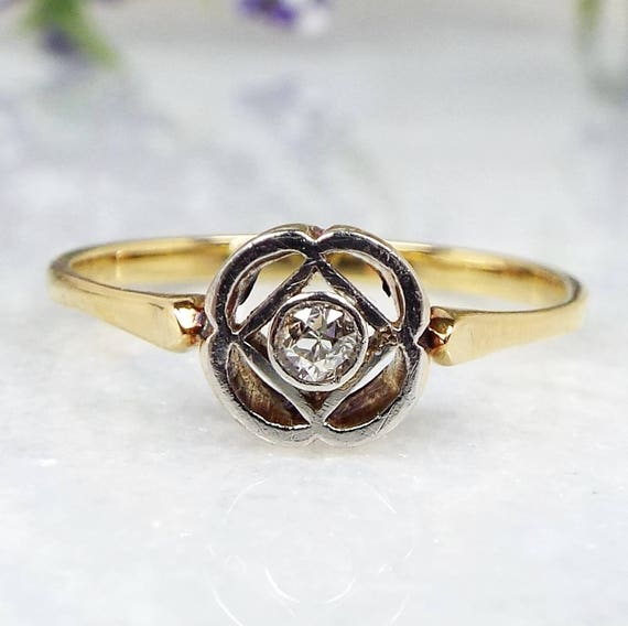 Antique Edwardian Art Deco 18ct Yellow Gold Diamond Daisy Solitaire Ring / Size P