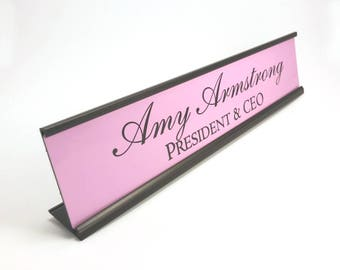Personalized desk nameplate plate plaque pink with black aluminum holder 2 x 10 inches