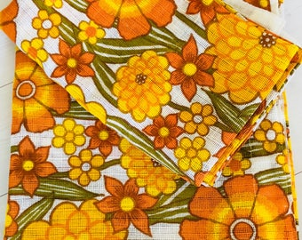 Scandinavian retro cutrains in floral mid mod fabric Sweden 60s.