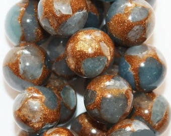 """Mosaic Agate Beads - Round 10 mm Beads - Full Strand 15"""", 38 beads, A-Quality"""